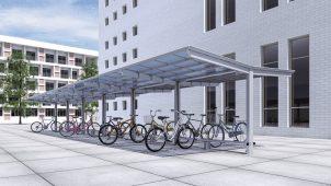 三協アルミ、フラット屋根の自転車置き場を発売