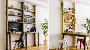 壁・天井に穴あけず、木材で壁面収納がつくれるDIYアイテム
