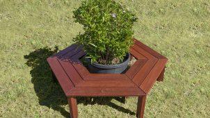 中央にプランターが置ける六角形の木製ベンチを発売