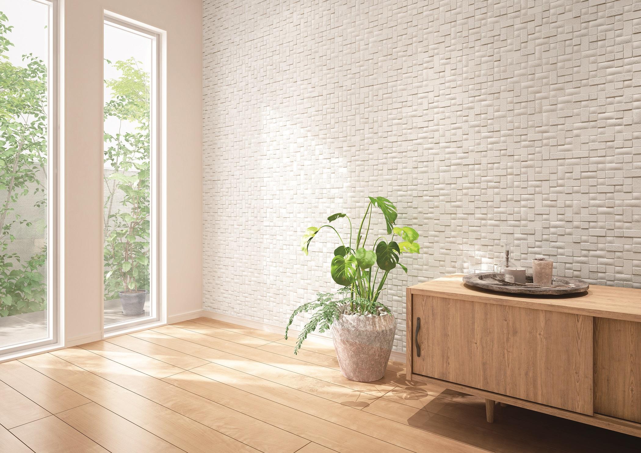 大建工業、深彫調不燃壁材に「草木×布目」の新柄