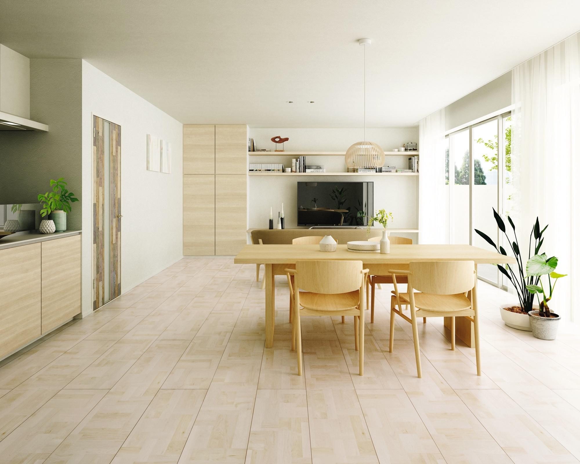 三協アルミ、シート床材に寄木調の新色2種類