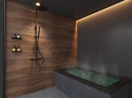 黒御影石浴槽×KOHLERシャワーの和モダンバスルーム