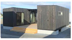 住林、CLTの移動式木造建築の実証棟完成 茨城県境町で宿泊施設として運用開始