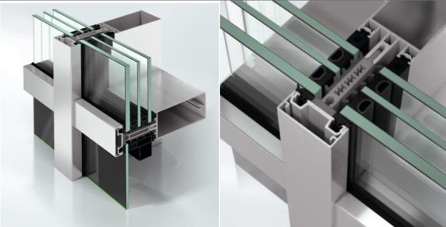 パッシブハウス認定の断熱性能 アルミ製高断熱ドライ工法カーテンウォール