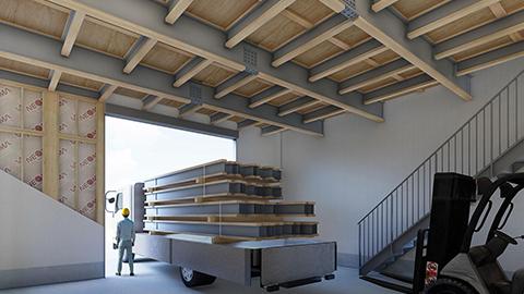 パナソニック、1階天井高4mの2階建て木造建物を実現する高天井対応部材を発売