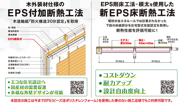 「EPS断熱材」2つの新工法提案 木外装用の付加断熱と床断熱
