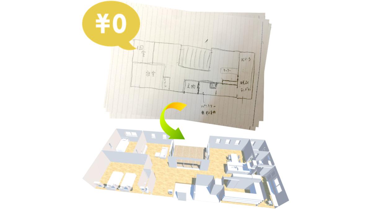 手書きの間取り図を3D空間にする施主向けサービス開始