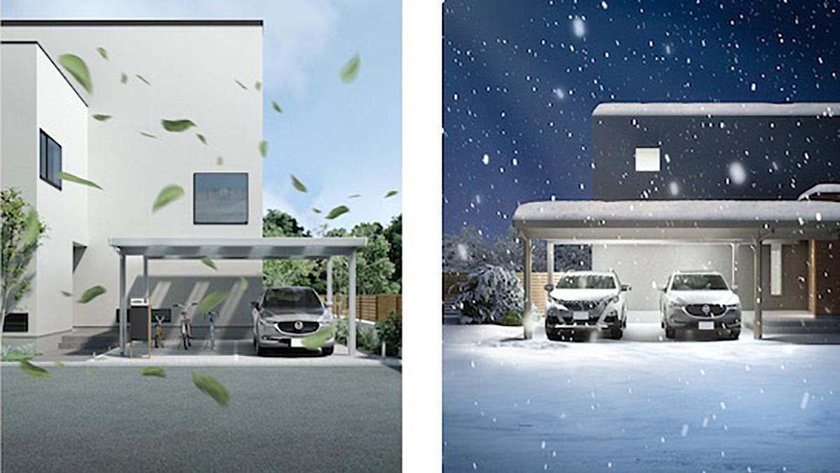 LIXIL、耐風圧46m/秒・耐積雪200cmの折板カーポート発売