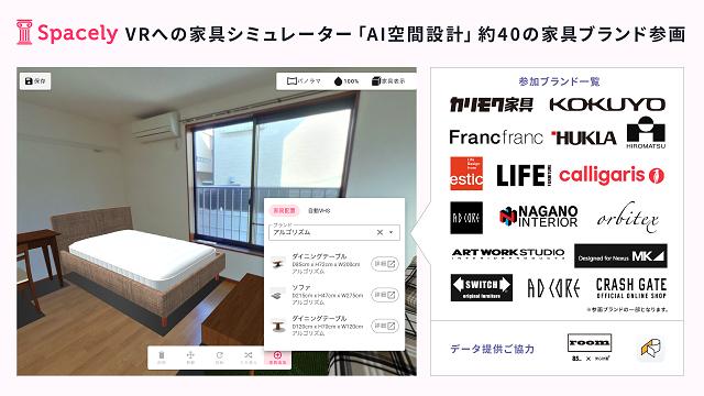 360度パノラマで家具をコーディネート スペースリー