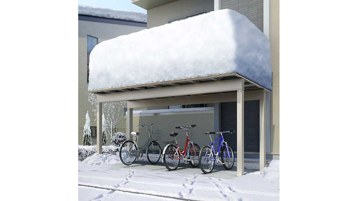 YKK AP、積雪150cm地域まで設置できるサイクルポート発売