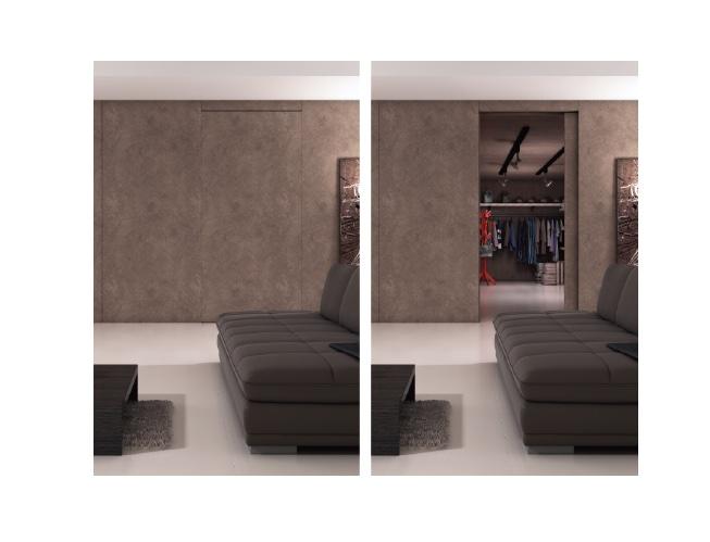 壁と一体化する「フラット扉」専用金物、隠し扉にも