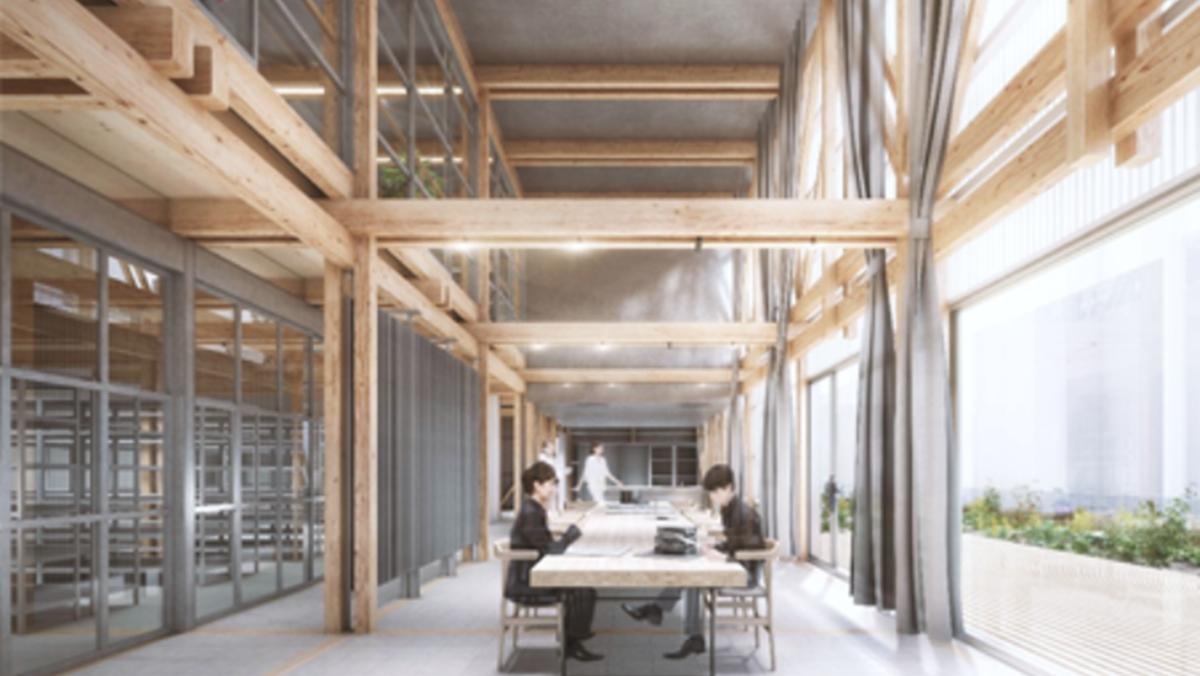 竹中工務店、一般流通材で非住宅建築する木架構システム開発