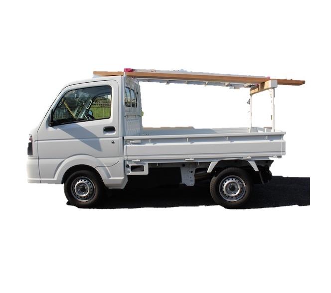 長尺資材を水平に固定できる軽トラ用荷台キャリア
