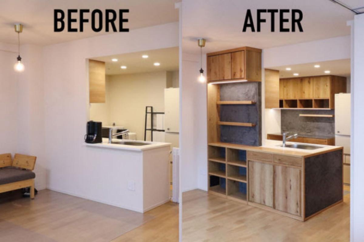 1日で施工完了、マンションキッチンにオーダーメイド空間